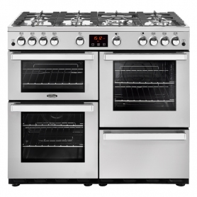 Belling 100 cm Cookcentre Gas Range Cooker - Professional Stainless Steel - A Rated