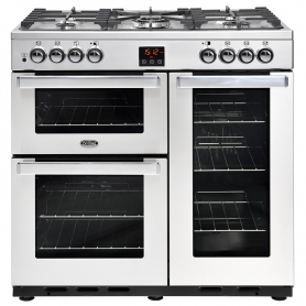 Belling 90 cm Cookcentre Dual Fuel Range Cooker - Professional Stainless Steel - A Rated